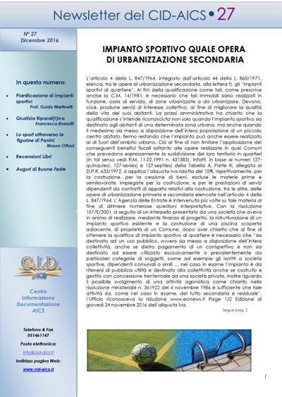 Newsletter CID 27 Dicembre-