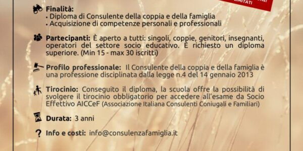 Corso triennale per la formazione di consulenti della coppia e della famiglia